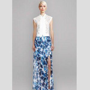 Worth New York | Blue Silk Chiffon Maxi Skirt | 8
